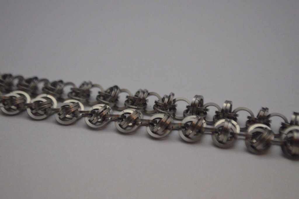 Stainless steel orbital weave chainmaille bracelet