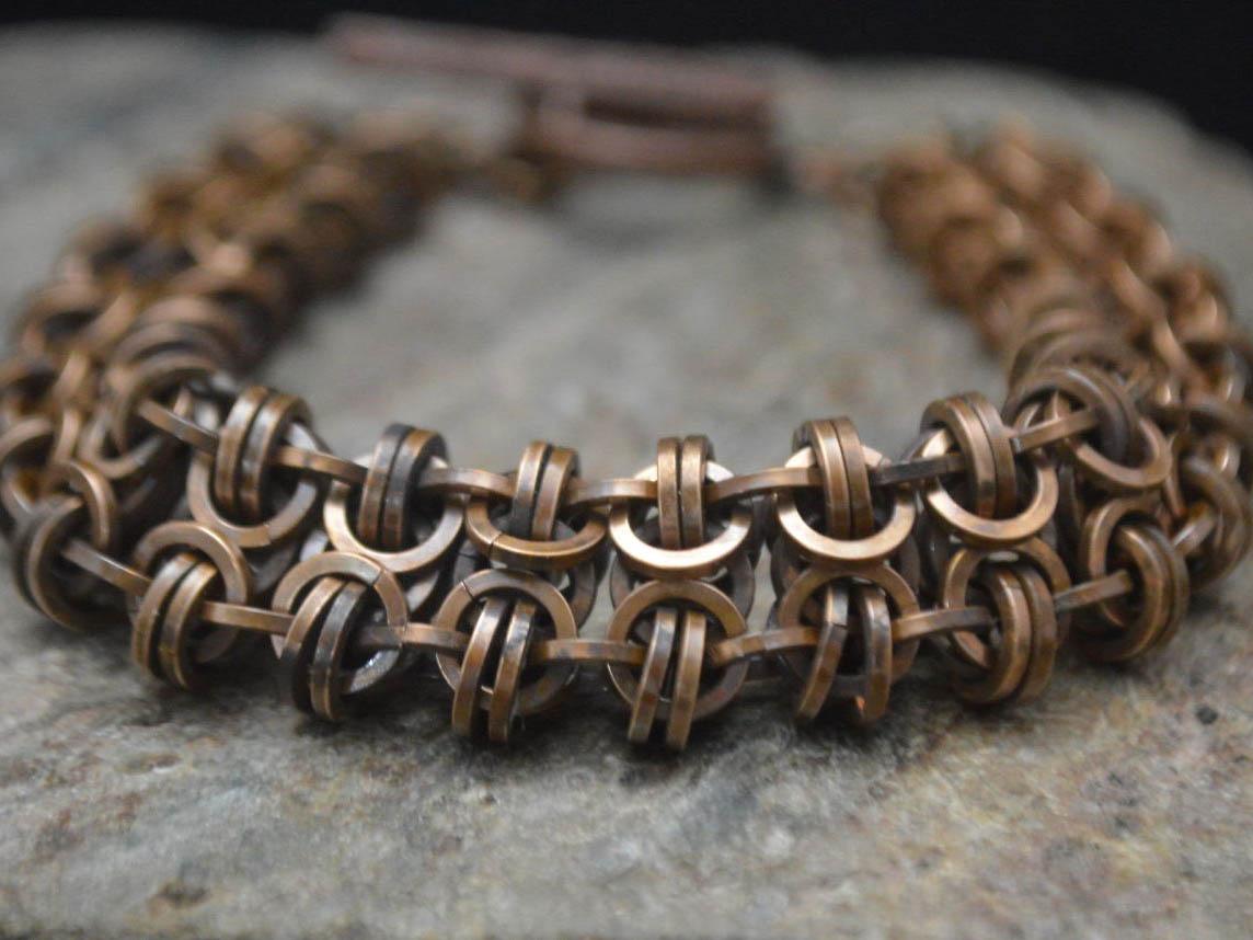 Bronze Gridlock Chainmaille Bracelet